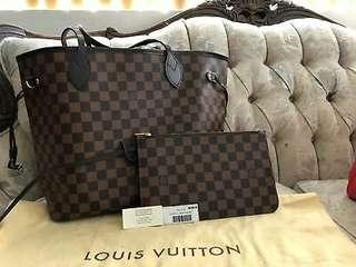 100% AUTHENTIC LOUIS VUITTON DAMIER EBENE NEVERFULL MM WITH POUCH