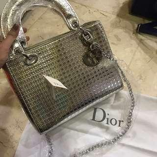 Lady Dior silver metallic bag