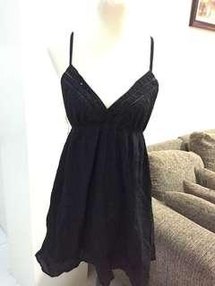 Black Spaghetti Short Dress