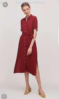 Our Second Nature Button Down Midi Shirt Dress