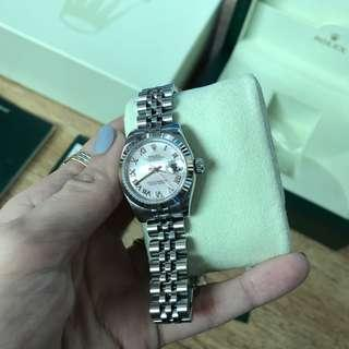 Rolex datejust ladies 26mm 18k white gold bezel mother of pearl diamond