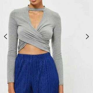 TOPSHOP Choker Wrap Crop Top