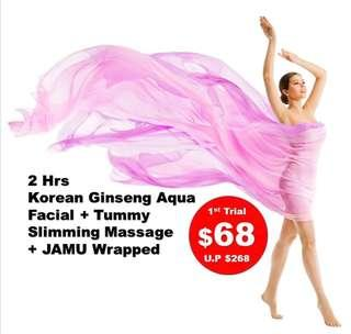 Korean Ginseng Aqua Facial + Woman's Tummy Slimming Massage & JAMU Wrapped