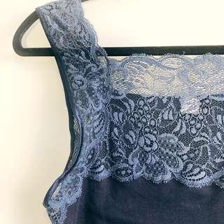 (2) Vintage Blue Lace Blouse (FREE SHIPPING)