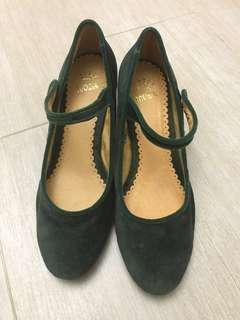深綠色 墨綠色 娃娃絨布高跟鞋 Dark Green high heel shoes