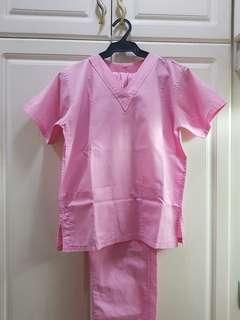 Pink Scrubs Uniform Set with Blouse Pockets XS