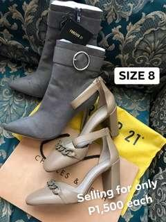 Charles and Keith Forever 21 Aldo Zara Coach Kate Spade MK Blocked Heels Wedge Boots Shoes