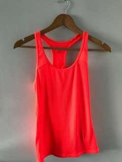 H&M sports neon orange tank top