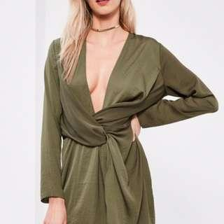 Misguided Khaki Satin wrap mini dress SZ 4