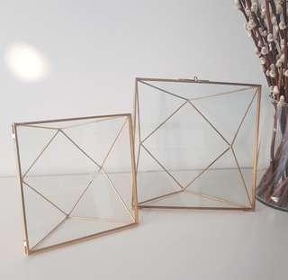Gold geometric glass photoframe / home decor