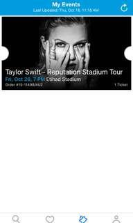 Taylor Swift Reputation Tour Concert Ticket