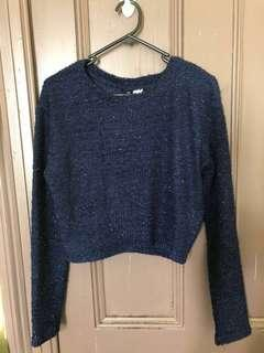 HnM sparkle navy blue crop top