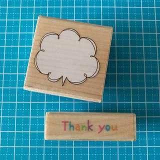 """2 pcs Word Bubble + """"Thank You"""" Wooden Rubber Stamp #bundlesforyou"""