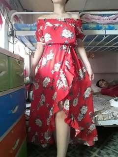 Red floral wrap summer skirt dress