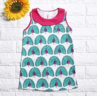 🚚 Instock - peacock dress, baby infant toddler girl