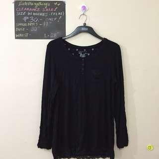 🔥 Large- XL - Plain Black Long Sleeved top with buttons - check description for details