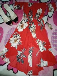 Red Sexy Floral Summer Dress