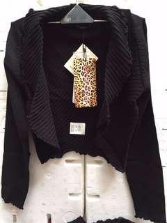 🚚 『蒙娜麗莎童二手女秋』黑色(嫘縈60%尼龍40%)針織背心與全高速邊外套(2件式套裝)