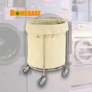 Stainless Steel heavy Laundry Cart Trolley (Round)