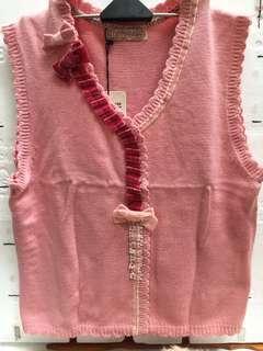 🚚 『蒙娜麗莎童二手女冬』花朵粉色羊毛50%亞克力纖維50%針織T