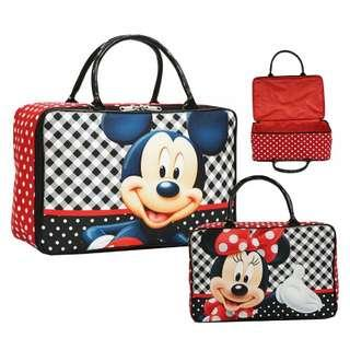Travel Bag Super Canvas Karakter Mickey Minnie Pink