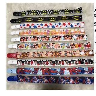 pacifier clips for boys, cartoon designs superman spiderman mickey mouse tsum tsum batman classic stars