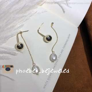 High quality hypoallergenic natural pearl 2 way dangling earrings