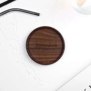 Personalised Engraved Round Coaster - Beech (Xmas Gift)