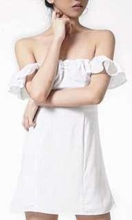ARTEMIS White Off shoulder Dress