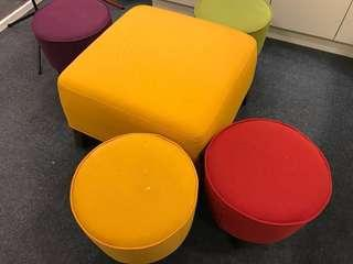 5 pieces of colourful stools