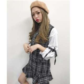 全新 日本品牌 SPIGA 泡泡袖格紋短洋裝 連身裙