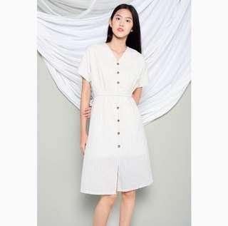 Erika Ecru Stripes Linen Kimono Midi Dress
