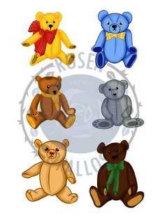 Hand Cut Teddy Bear Stickers