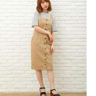 全新 現貨 日牌 日本流行品牌 INGNI 排釦連身裙 洋裝 丹寧/卡其 共二色