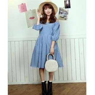 全新 日本甜美品牌 dazzlin 復古直條紋綁帶洋裝