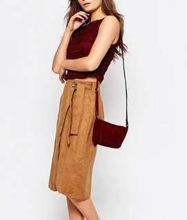 ASOS suede holiday skirt