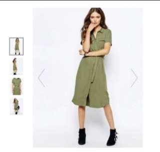 Asos linen military green dress