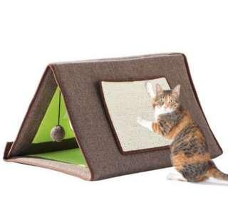 Cat House Kitten Bed Tent with Scratching Pads Cat Scratch board with Cat bed house cushion Cats Scratcher Scratching pad Post Interactive Toy For Cat Training Cat tent