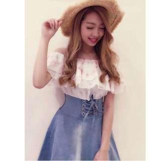 全新 日本品牌 SPIGA 雪紡拼接牛仔裙腰封洋裝 共2色