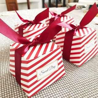 Red Striped Sweet Day Vintage Candy Wedding Gift Box