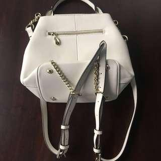 Cowhide Leather Stylish Special Bucket Bag / Backpack White