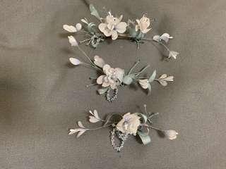 新娘 姊妹 手染花 頭飾