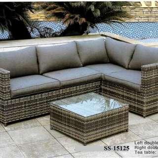 L-shape grey wicker rattan sofa