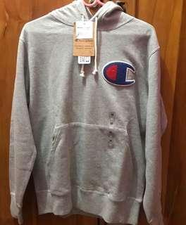 pullover hoodie champion big logo c parker grey