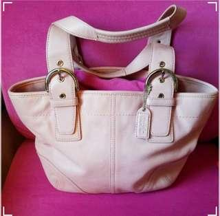 "Coach Daisy Canvas Leather Small Handbag Pink            ❤95%New❤            Good Condition             Size: 11-""×7.5""×3"""