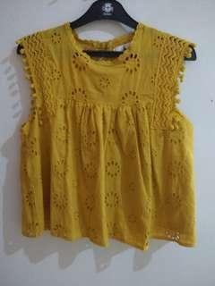 Embroidery Yellow Top