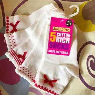 🇬🇧 MARKS & SPENCER 馬莎 女童 白襪 返學襪 蝴蝶結🎀 5對 5 cotton white 🧦 ribbon 🎀 socks