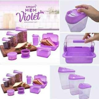Toples plastik smart mom violet breakfast sarapan roti susu