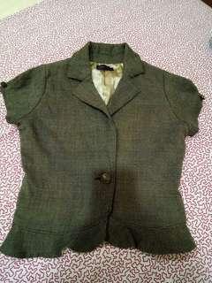 🚚 卡其色格子荷葉邊半袖外套(154-162)