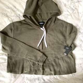 army green crop hoodie size s💚好舒服既質地